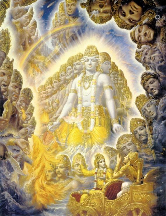 Lord Krishna showing His Vishwaroopa to Arjuna