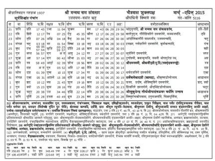 Sanskrit Panchanga
